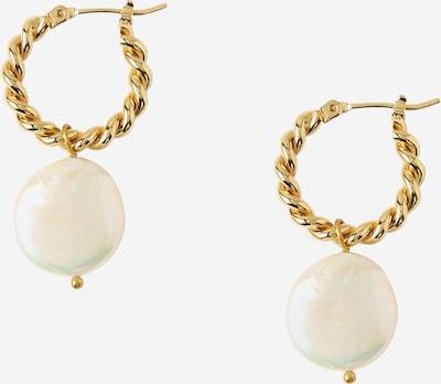 Orelia Auskari 'Pearl Drop Hoops' Zelts / pērļbalts, Preces skats