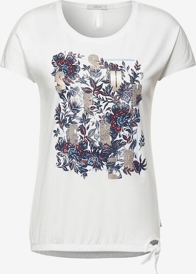 CECIL T-Shirt in mischfarben / weiß, Produktansicht