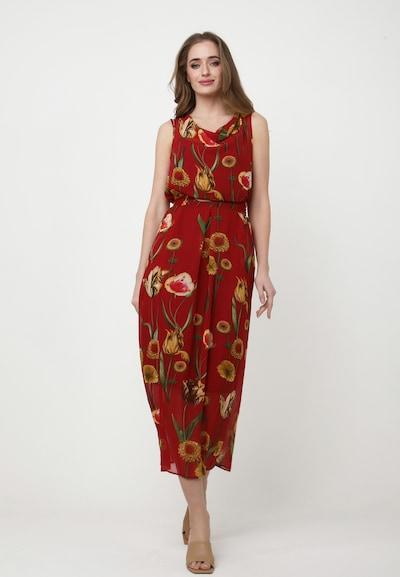 Madam-T Kleid 'Zakia' in mischfarben / rot, Modelansicht