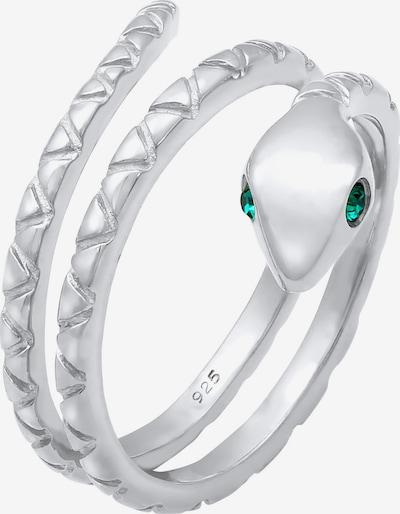 ELLI Ring Pinky Ring, Schlange in grün / silber, Produktansicht