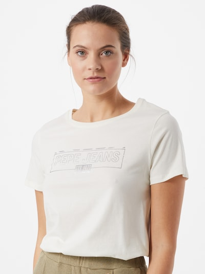Pepe Jeans Shirt 'BETTY' in silber / offwhite: Frontalansicht