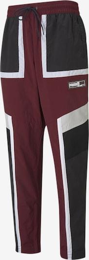 PUMA Sportbroek 'Court Side' in de kleur Bourgogne / Zwart / Wit, Productweergave