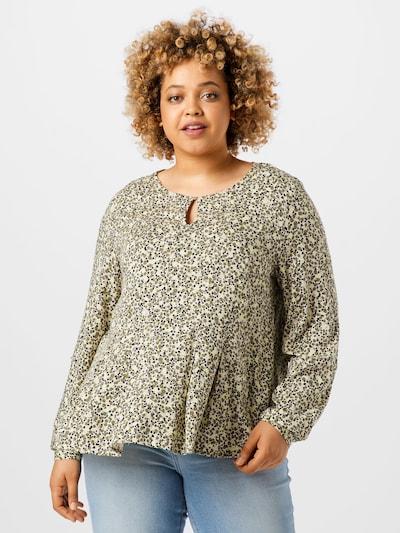 Vero Moda Curve Bluse 'BACA' in creme / hellgelb / khaki / schwarz, Modelansicht