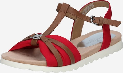 Sandale cu baretă TOM TAILOR pe maro caramel / roșu, Vizualizare produs