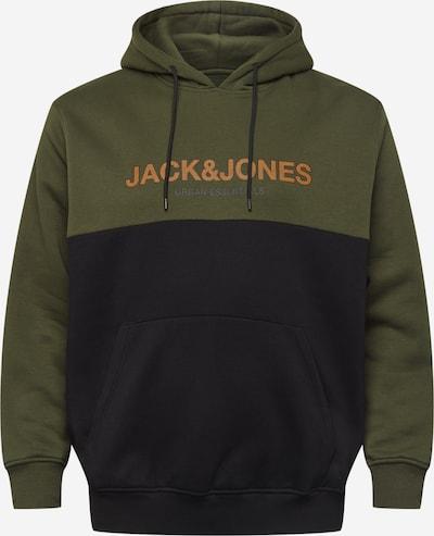 Bluză de molton Jack & Jones Plus pe verde închis / portocaliu / negru, Vizualizare produs