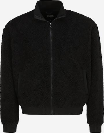 Urban Classics Big & Tall Between-Season Jacket 'Boxy Sherpa' in Black