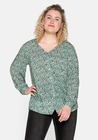 SHEEGO Blouse in de kleur Mintgroen / Pastelgroen / Zwart / Wit, Modelweergave