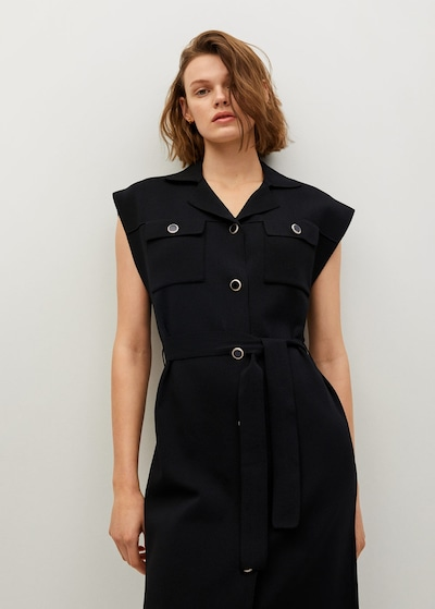 MANGO Košilové šaty 'jane' - černá, Model/ka