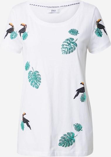 ONLY Тениска 'Kita' в нефритено зелено / черно / бяло, Преглед на продукта