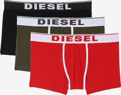 DIESEL Boxershorts in oliv / hellrot / schwarz / weiß, Produktansicht