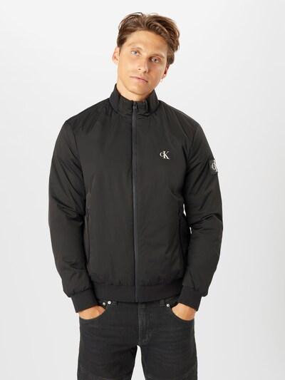 Calvin Klein Jeans Prijelazna jakna 'Harrington' u crna / bijela: Prednji pogled
