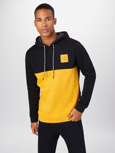 JACK & JONES Sweatshirt 'BOOSTER' i gul / sort: Frontvisning