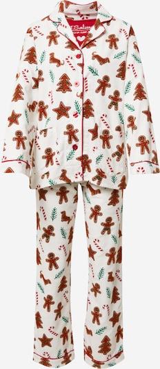 Pijama PJ Salvage pe maro / petrol / roșu / alb natural, Vizualizare produs