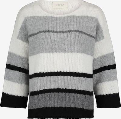 Cartoon Strickpullover mit Streifen in grau / dunkelgrau / schwarz / weiß, Produktansicht