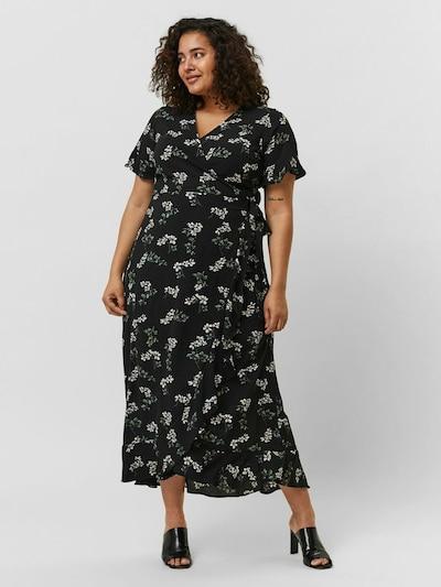 Vero Moda Curve Kleid 'Saga' in dunkelgrün / schwarz / weiß, Modelansicht
