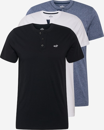 HOLLISTER Tričko - modrá melírovaná / čierna / biela, Produkt