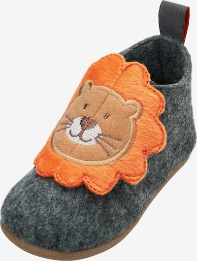 PLAYSHOES Mājas apavi 'Löwe' brūns / pelēks / oranžs / balts, Preces skats