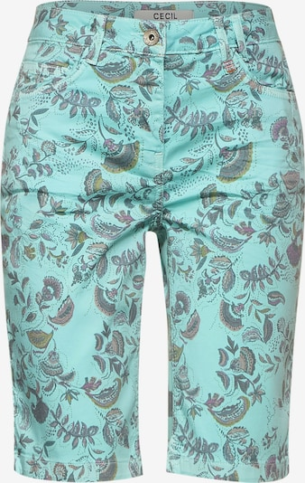 CECIL Trousers in Smoke blue / Mint / Reed / Light purple, Item view