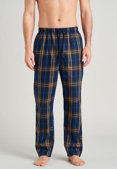 SCHIESSER Pyjamabroek in de kleur Blauw / Donkerblauw / Sinaasappel, Modelweergave