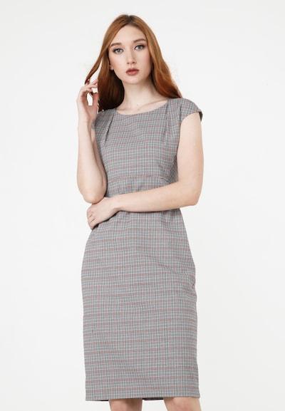 Madam-T Kleid 'Mutala' in grau / rot / schwarz / weiß, Modelansicht