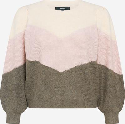 Vero Moda Curve Pullover 'PLAZARIB' in beige / oliv / rosa, Produktansicht