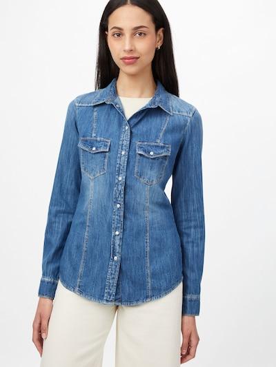 GUESS Bluse 'LALIMA' in blue denim, Modelansicht