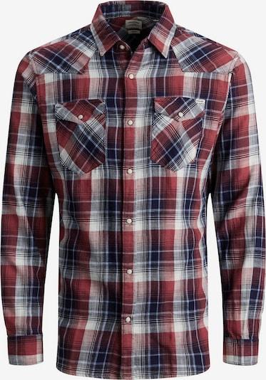 JACK & JONES Overhemd in de kleur Nachtblauw / Lichtgrijs / Pastelrood, Productweergave