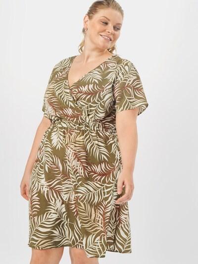 ONLY Carmakoma Letné šaty 'Luxmai' - olivová / biela: Pohľad spredu