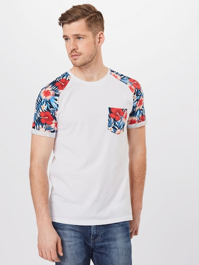 !Solid Shirt 'Ruel' in Petrol / Red / White: Frontal view