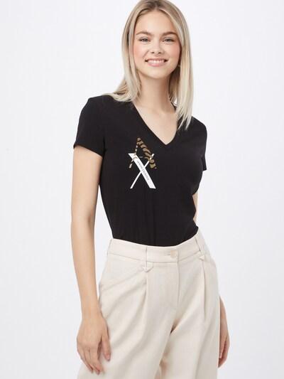 ARMANI EXCHANGE T-shirt en noisette / noir / blanc: Vue de face