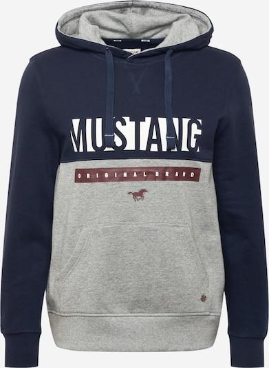 MUSTANG Sweatshirt 'Bennet' in graumeliert / dunkelrot / schwarz / weiß, Produktansicht