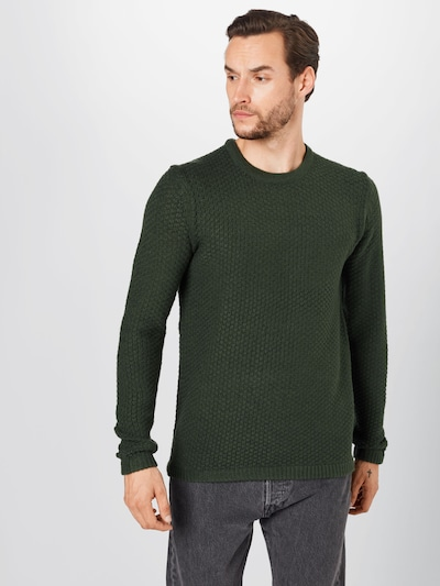 Only & Sons Pullover 'LOCCER' in dunkelgrün: Frontalansicht