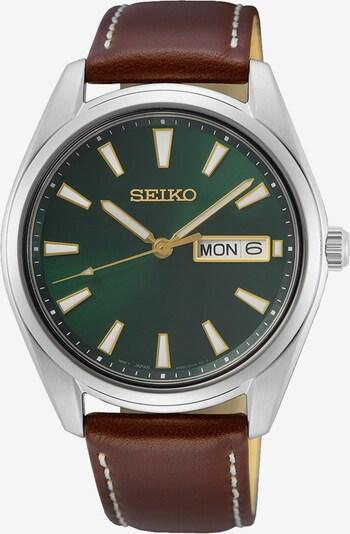 SEIKO Uhr in braun / gold / dunkelgrün / silber / weiß, Produktansicht