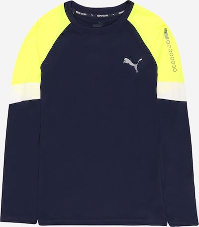 PUMA T-Shirt fonctionnel en bleu marine / citron vert / blanc, Vue avec produit