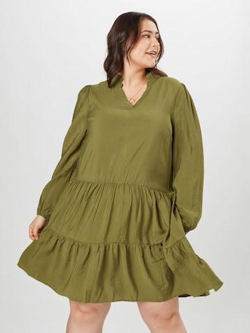 KAFFE CURVE Shirt Dress 'Edmina' in Green