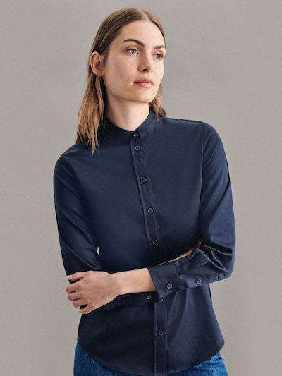 SEIDENSTICKER Bluse in dunkelblau / weiß, Modelansicht