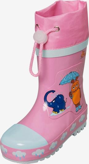 PLAYSHOES Bottes en caoutchouc 'Maus & Elefant' en bleu marine / bleu clair / orange / rose, Vue avec produit