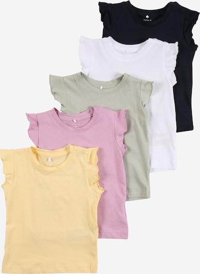 NAME IT Shirt 'SEDONNA' in hellgelb / khaki / lila / schwarz / weiß, Produktansicht