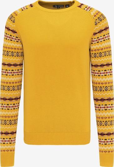 MO Pullover in gelb / grau / weinrot, Produktansicht