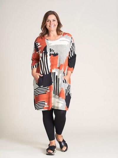 GOZZIP Kleid 'Inge' in grau / rot / schwarz / weiß, Modelansicht