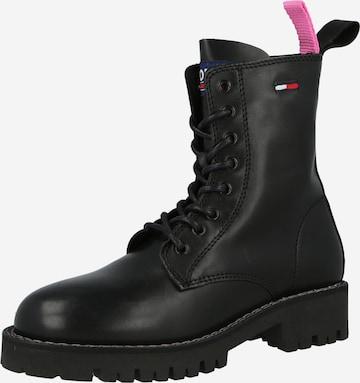 juoda Tommy Jeans Suvarstomieji kulkšnis dengiantys batai