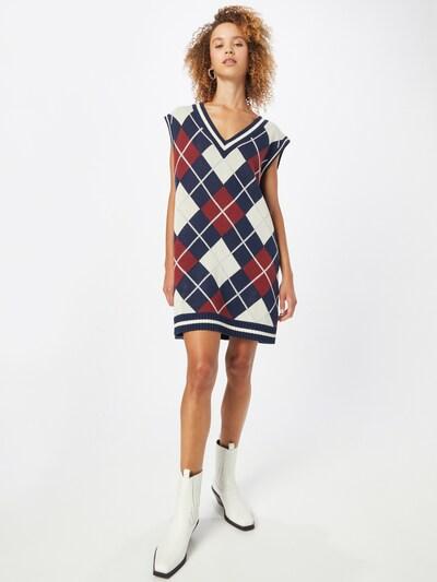 WEEKDAY Kleid in dunkelblau / blutrot / weiß, Modelansicht