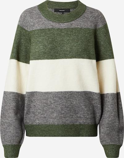 VERO MODA Pullover 'Abbia' in grau / grün / weiß, Produktansicht