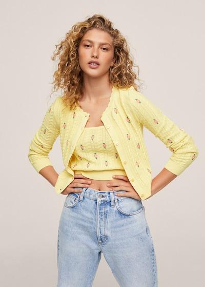 MANGO Knit Cardigan 'Pradera' in Yellow / Green / Light pink, View model