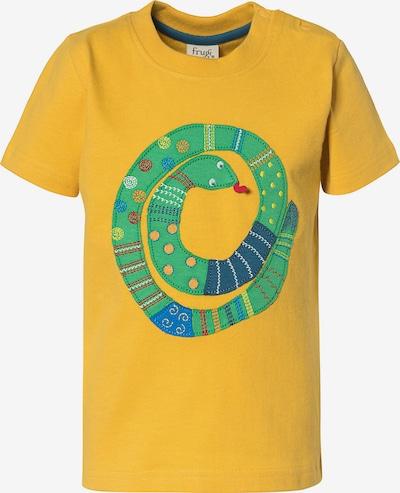 Frugi T-Shirt 'AVERY APPLIQUE' in blau / gelb / grün / blutrot, Produktansicht