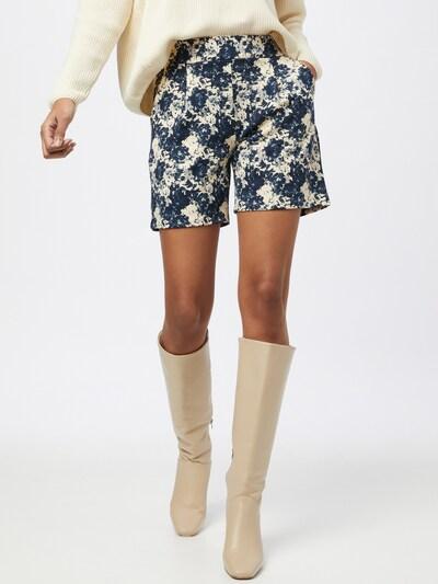 ICHI Plisované nohavice 'KATE' - tmavomodrá / vaječná škrupina, Model/-ka