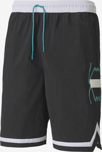 PUMA Pantalon de sport 'Basketball Franchise' en bleu néon / noir / blanc, Vue avec produit