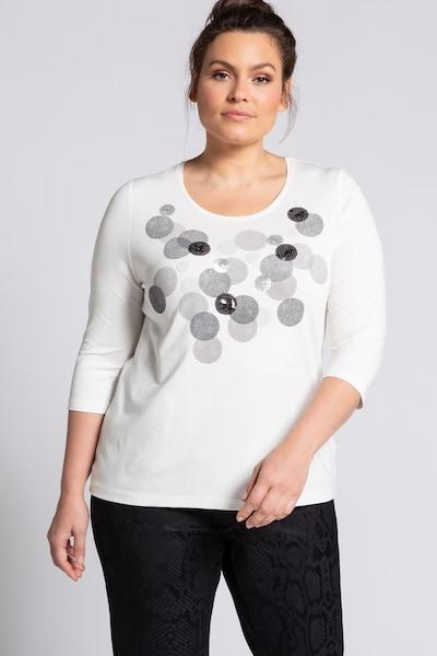 Ulla Popken Shirt in grau / schwarz / offwhite: Frontalansicht