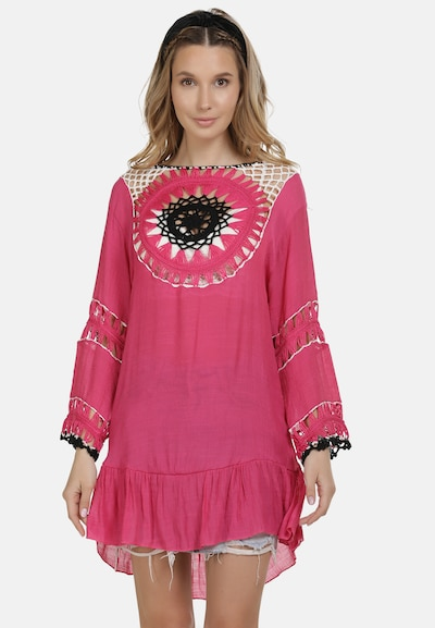 Rochie tip bluză IZIA pe roz pitaya / negru / alb, Vizualizare model