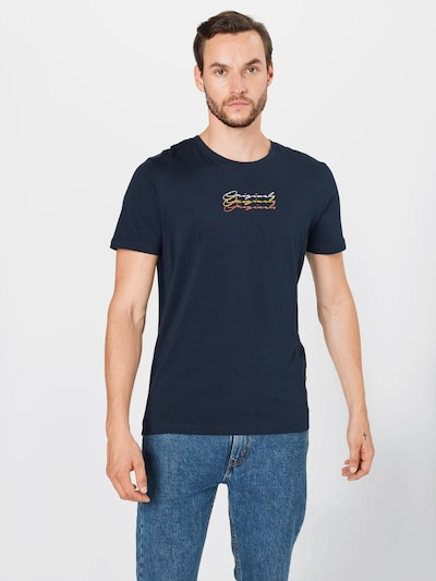 Maglietta 'LUTHAR' JACK & JONES di colore navy / giallo / salmone / bianco: Vista frontale
